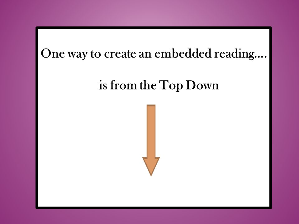 One way to create an embedded reading….