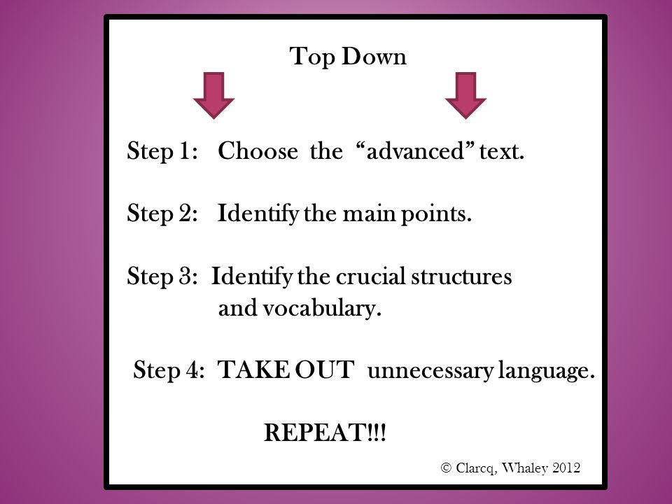 Top Down Step 1: Choose the advanced text. Step 2: Identify the main points. Step 3: Identify the crucial structures.