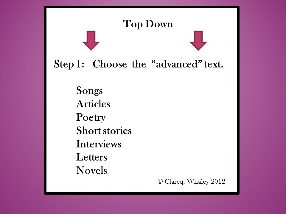 Step 1: Choose the advanced text. Songs Articles Poetry