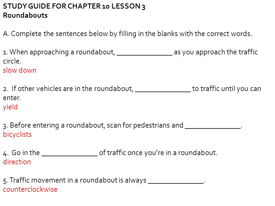 STUDY GUIDE FOR CHAPTER 10 LESSON 3