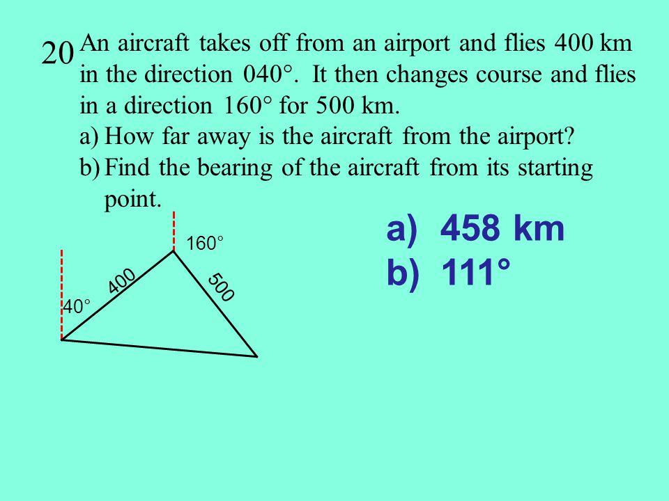 20 An aircraft takes off from an airport and flies 400 km in the direction 040°. It then changes course and flies in a direction 160° for 500 km.