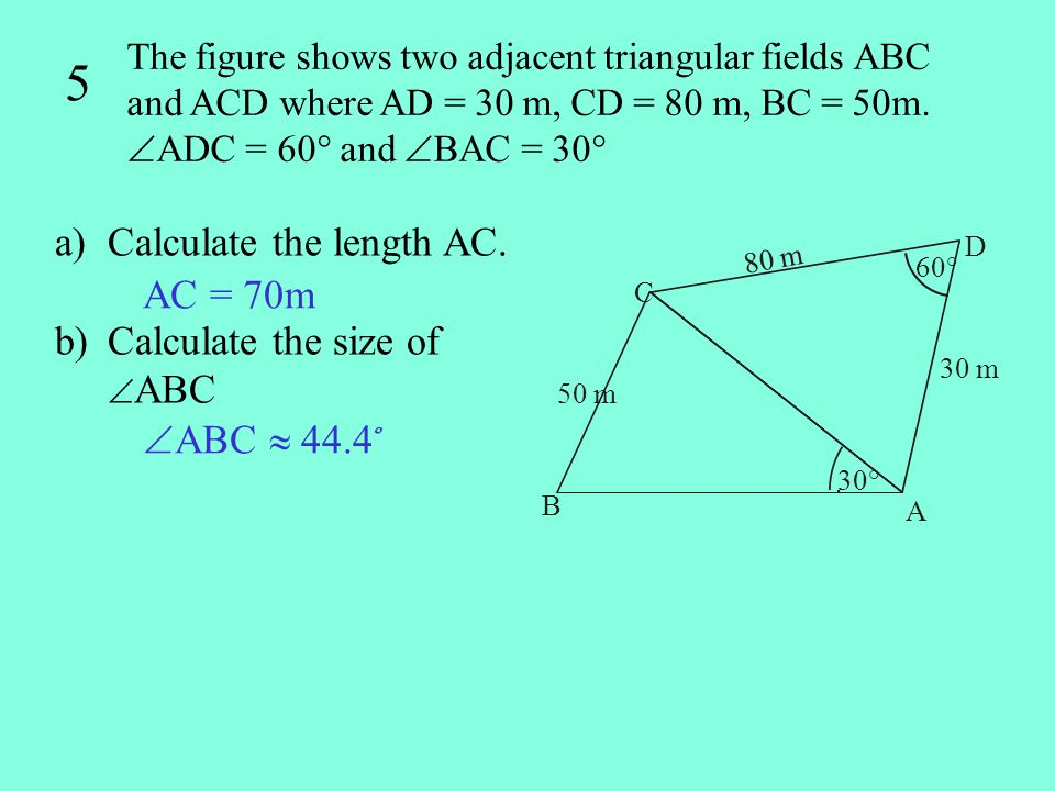 5 Calculate the length AC. Calculate the size of ABC AC = 70m