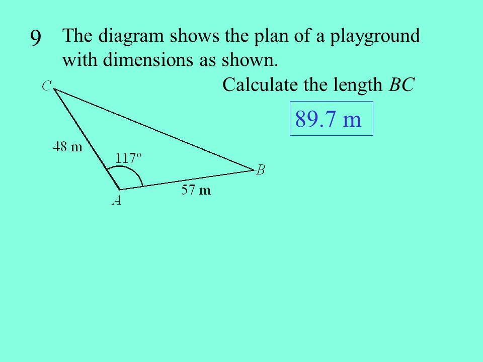 9 The diagram shows the plan of a playground with dimensions as shown.