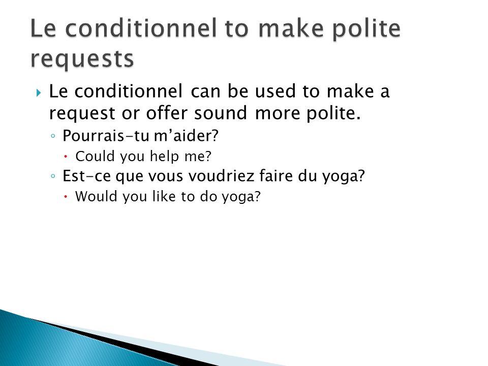 Le conditionnel to make polite requests