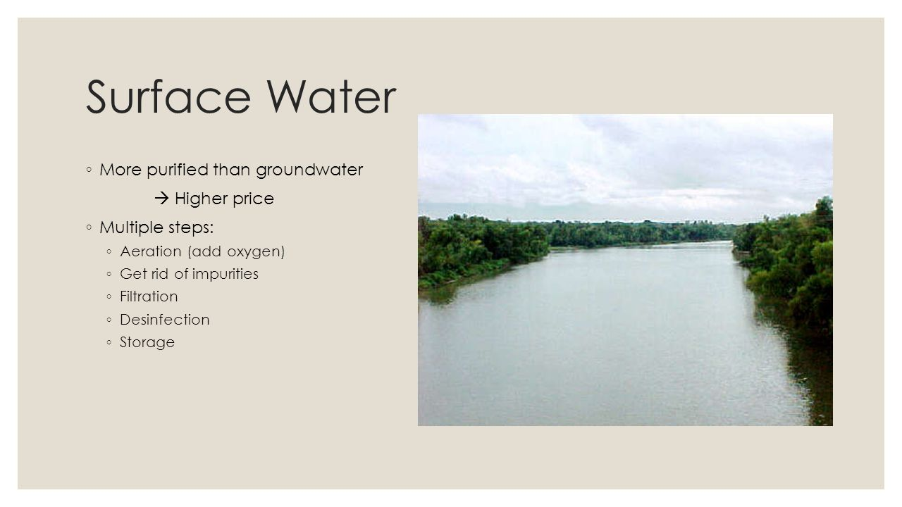 Surface Water More purified than groundwater  Higher price