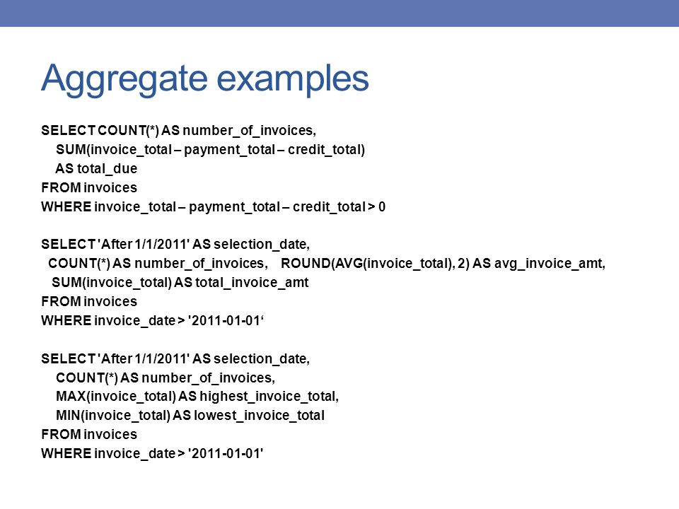 Aggregate examples