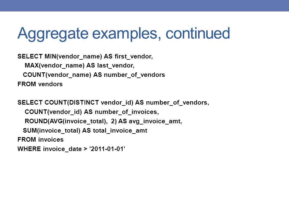 Aggregate examples, continued