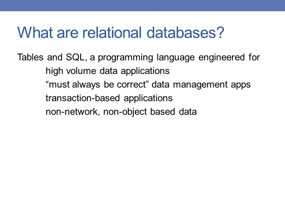 What are relational databases
