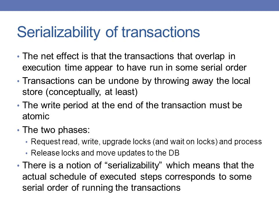 Serializability of transactions
