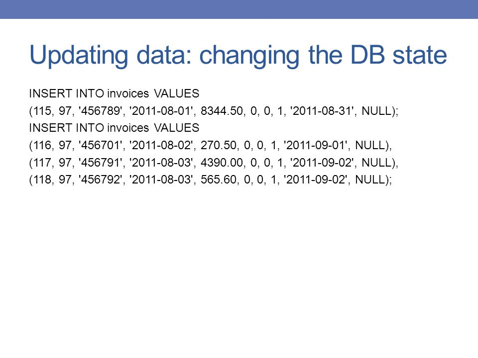 Updating data: changing the DB state