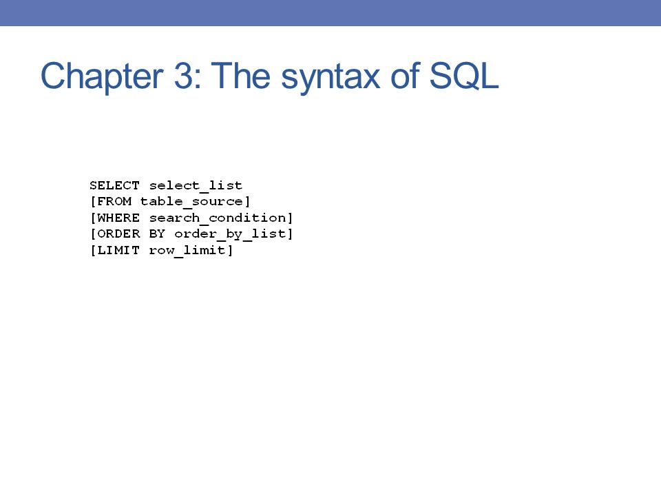 Chapter 3: The syntax of SQL