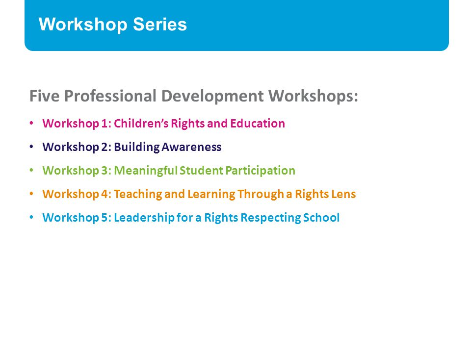 Five Professional Development Workshops: