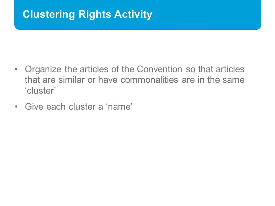 Clustering Rights Activity