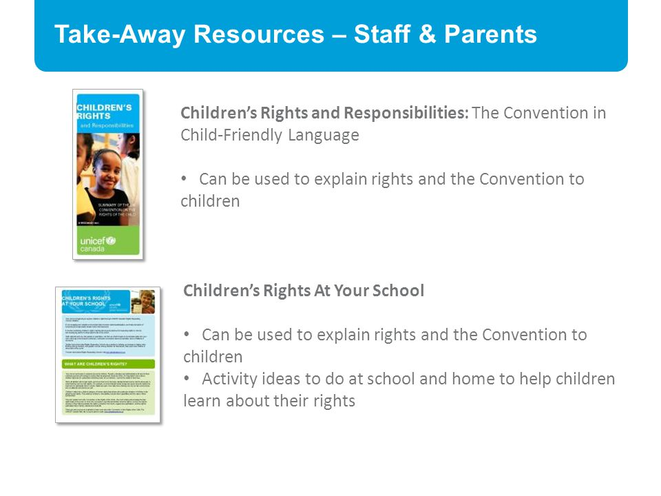 Take-Away Resources – Staff & Parents