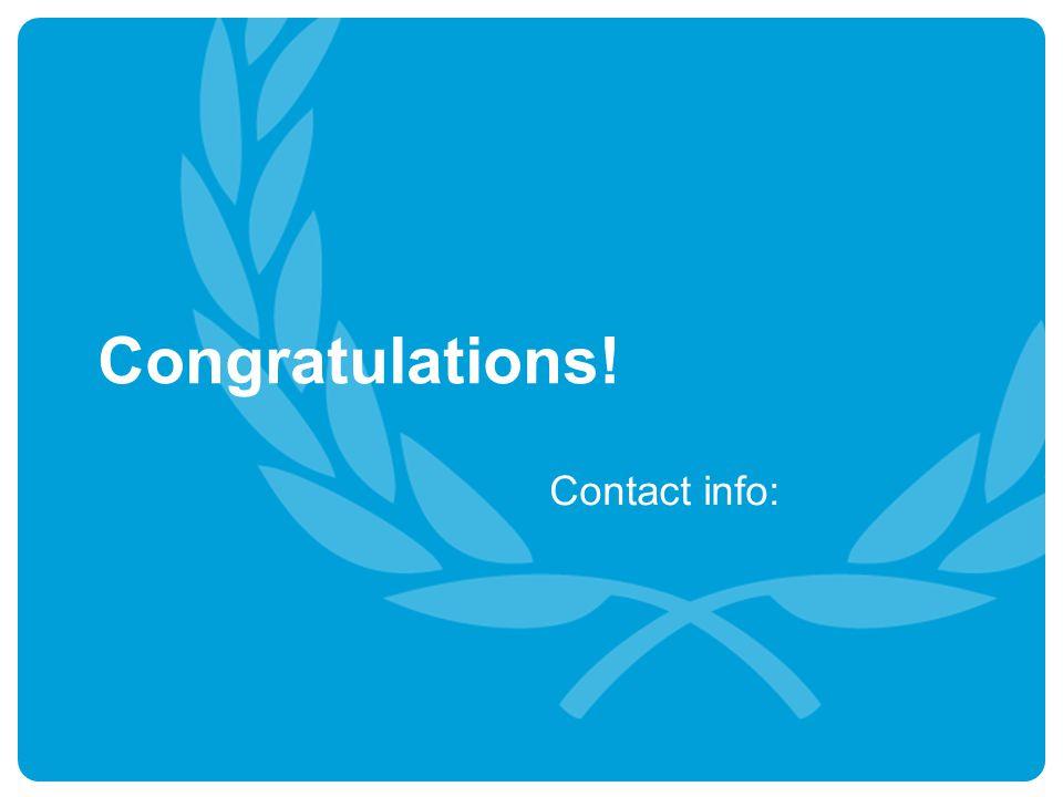 Congratulations! Contact info:
