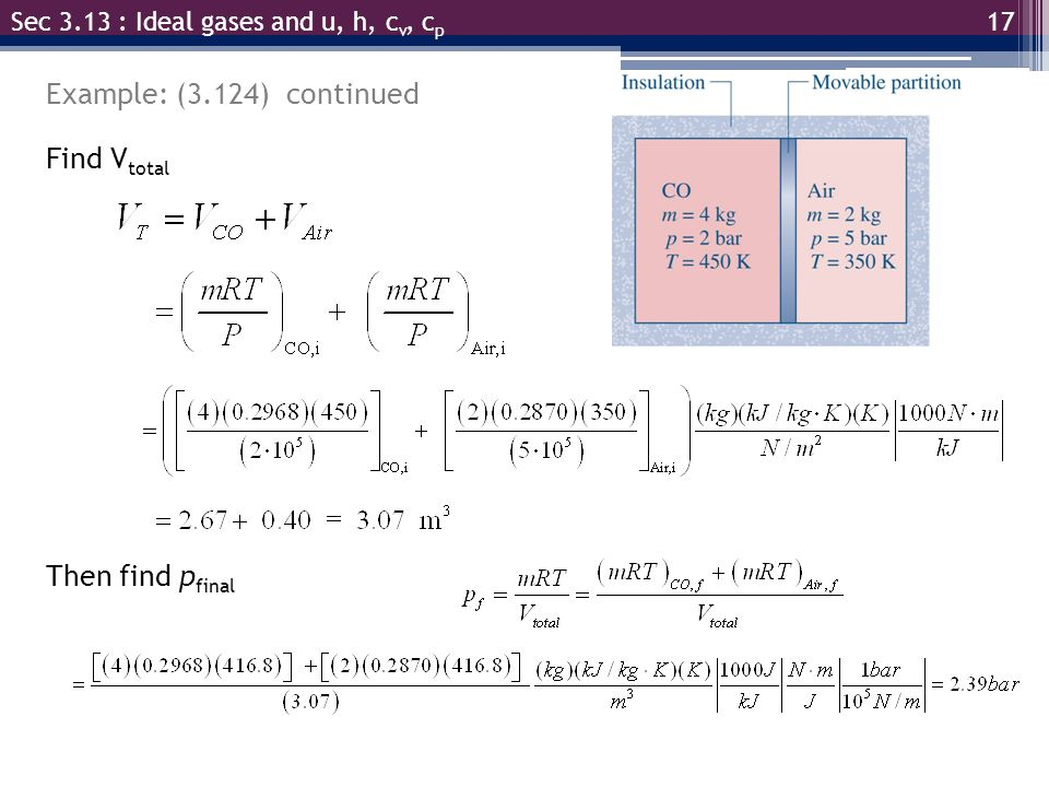 Example: (3.124) continued Find Vtotal Then find pfinal