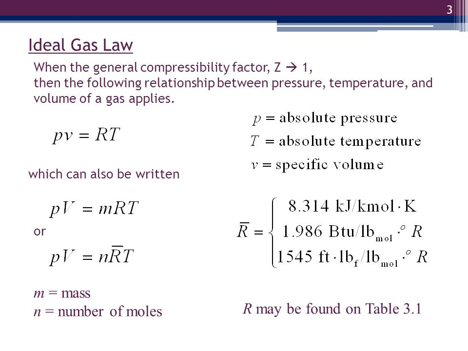 Ideal Gas Law m = mass n = number of moles R may be found on Table 3.1