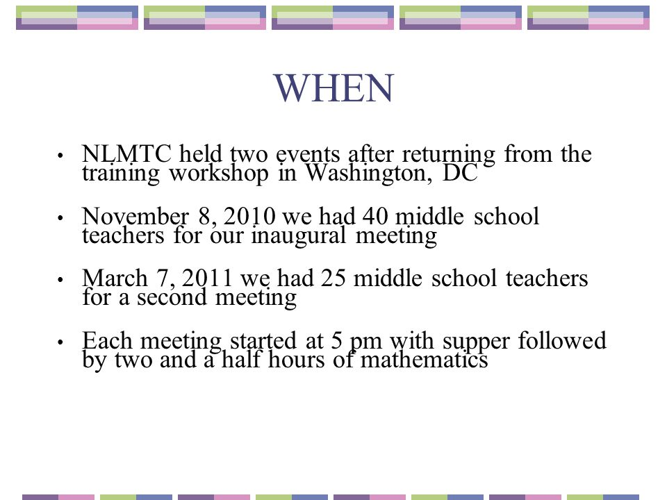 WHEN NLMTC held two events after returning from the training workshop in Washington, DC.