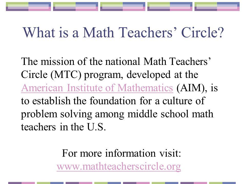 What is a Math Teachers' Circle
