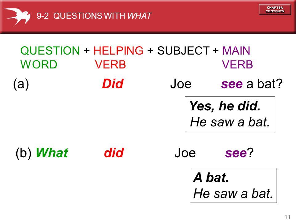 (a) Did Joe see a bat Yes, he did. He saw a bat.