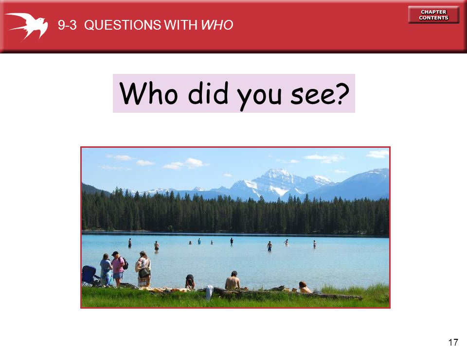 9-3 QUESTIONS WITH WHO Who did you see