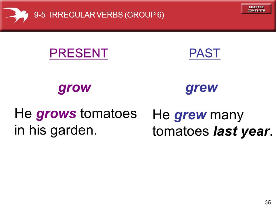 grow grew He grows tomatoes He grew many in his garden.