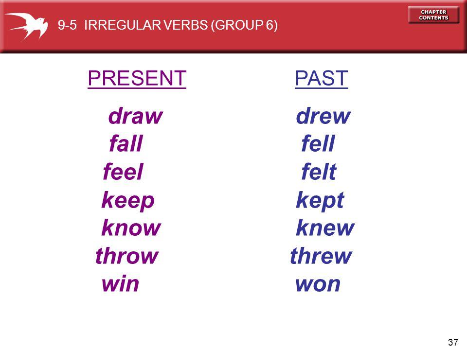 draw drew fall fell feel felt keep kept know knew throw threw win won