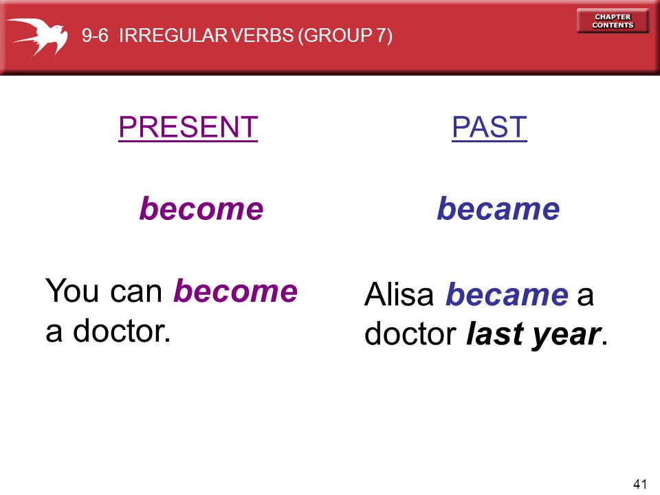 become became You can become a doctor. Alisa became a