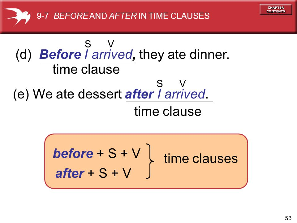 (d) Before I arrived, they ate dinner. time clause