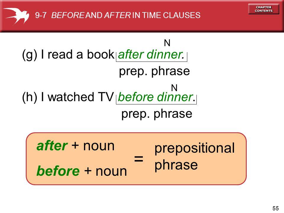 = after + noun prepositional phrase before + noun