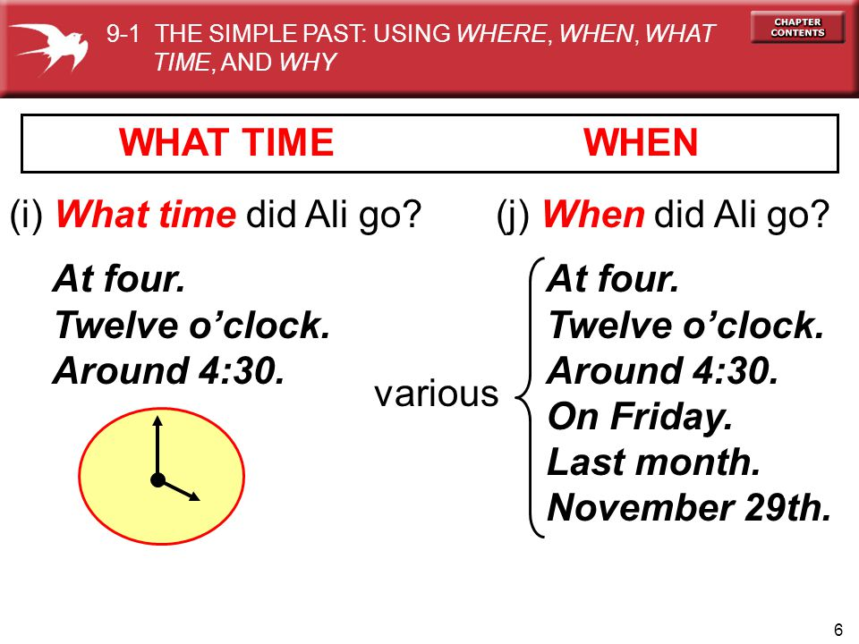 WHAT TIME WHEN (i) What time did Ali go (j) When did Ali go At four.