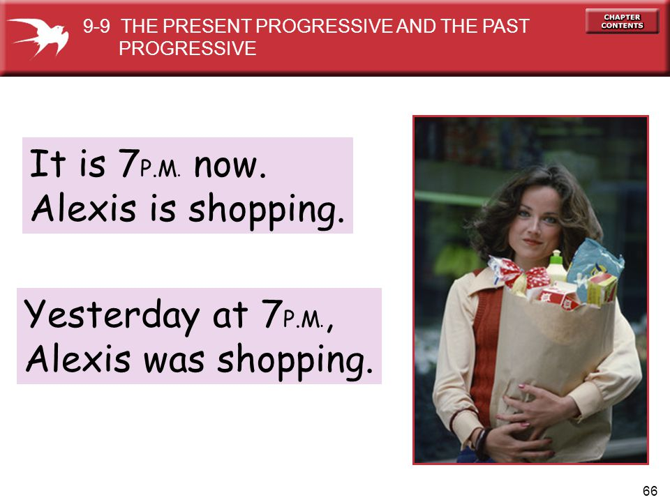 It is 7P.M. now. Alexis is shopping. Yesterday at 7P.M.,