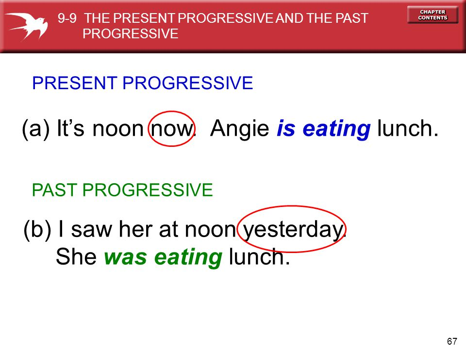 (a) It's noon now. Angie is eating lunch.