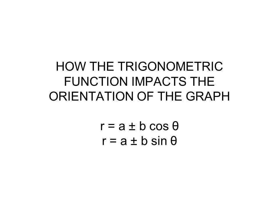 HOW THE TRIGONOMETRIC FUNCTION IMPACTS THE ORIENTATION OF THE GRAPH r = a ± b cos θ r = a ± b sin θ