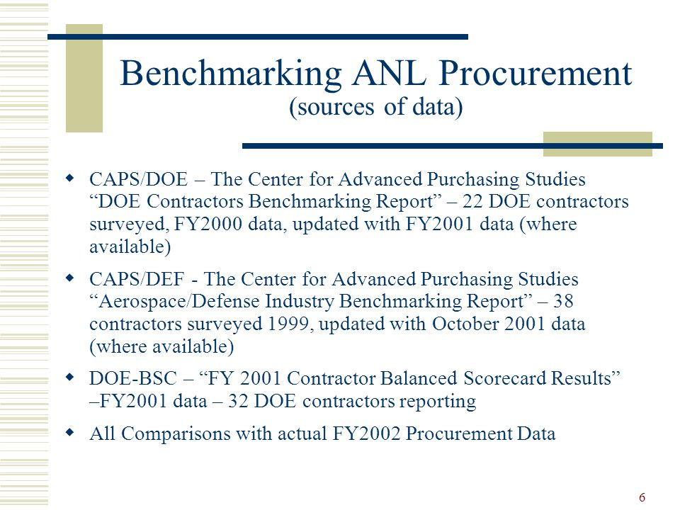 Benchmarking ANL Procurement (sources of data)
