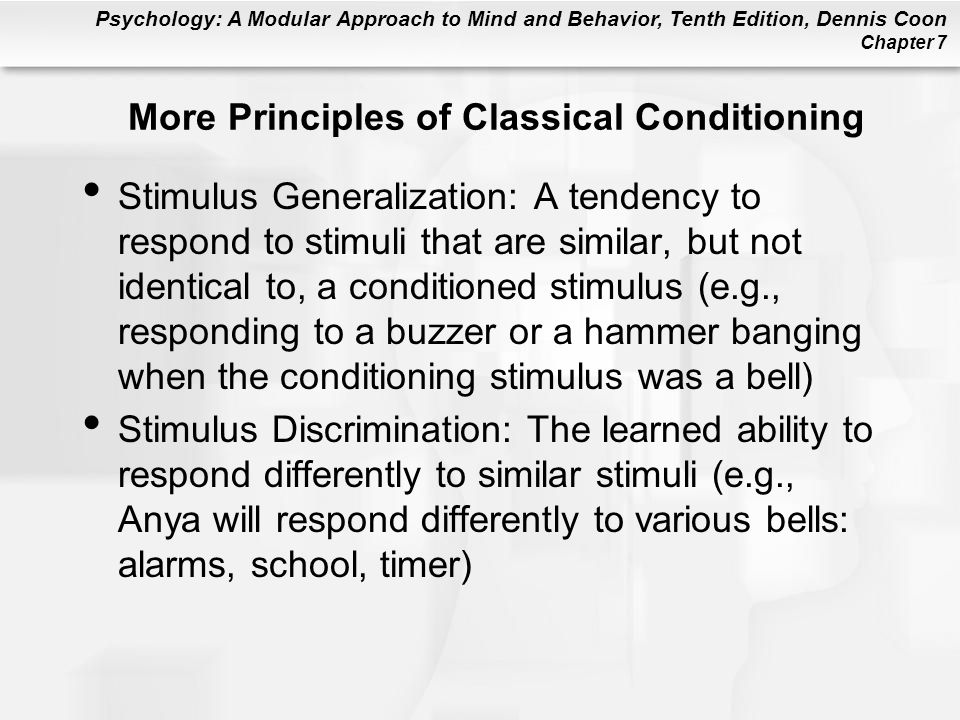 More Principles of Classical Conditioning