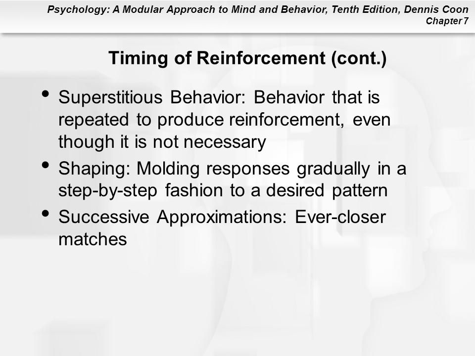 Timing of Reinforcement (cont.)