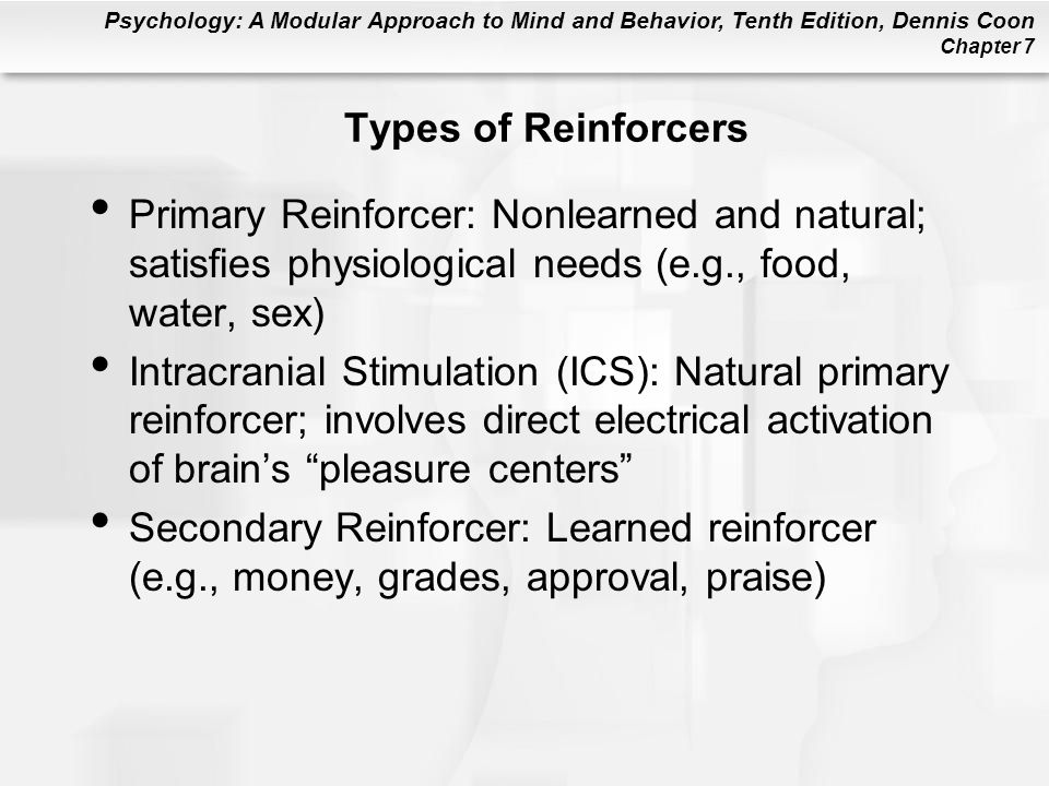 Types of Reinforcers Primary Reinforcer: Nonlearned and natural; satisfies physiological needs (e.g., food, water, sex)