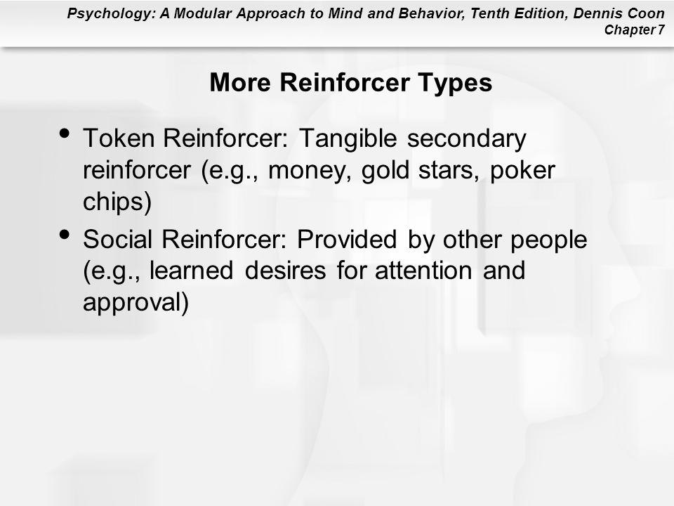 More Reinforcer Types Token Reinforcer: Tangible secondary reinforcer (e.g., money, gold stars, poker chips)