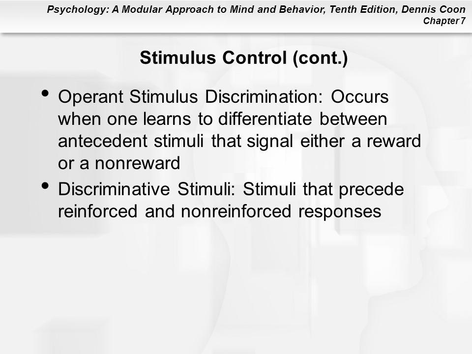 Stimulus Control (cont.)