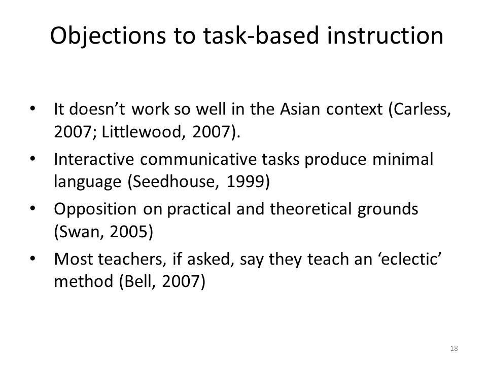Objections to task-based instruction