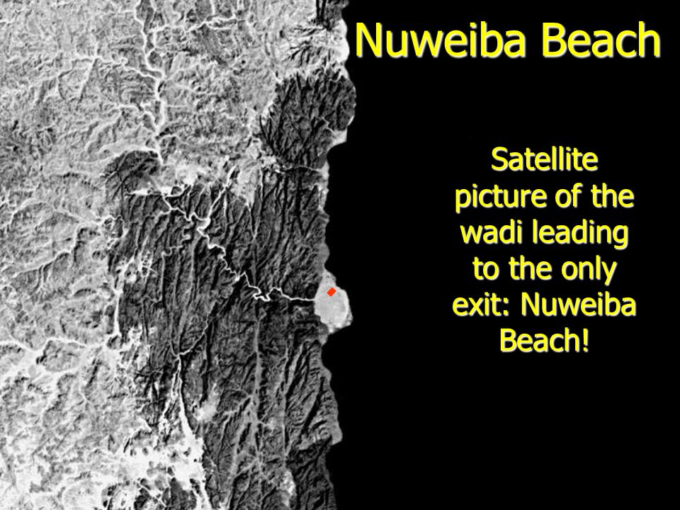 Satellite picture of the wadi leading to the only exit: Nuweiba Beach!
