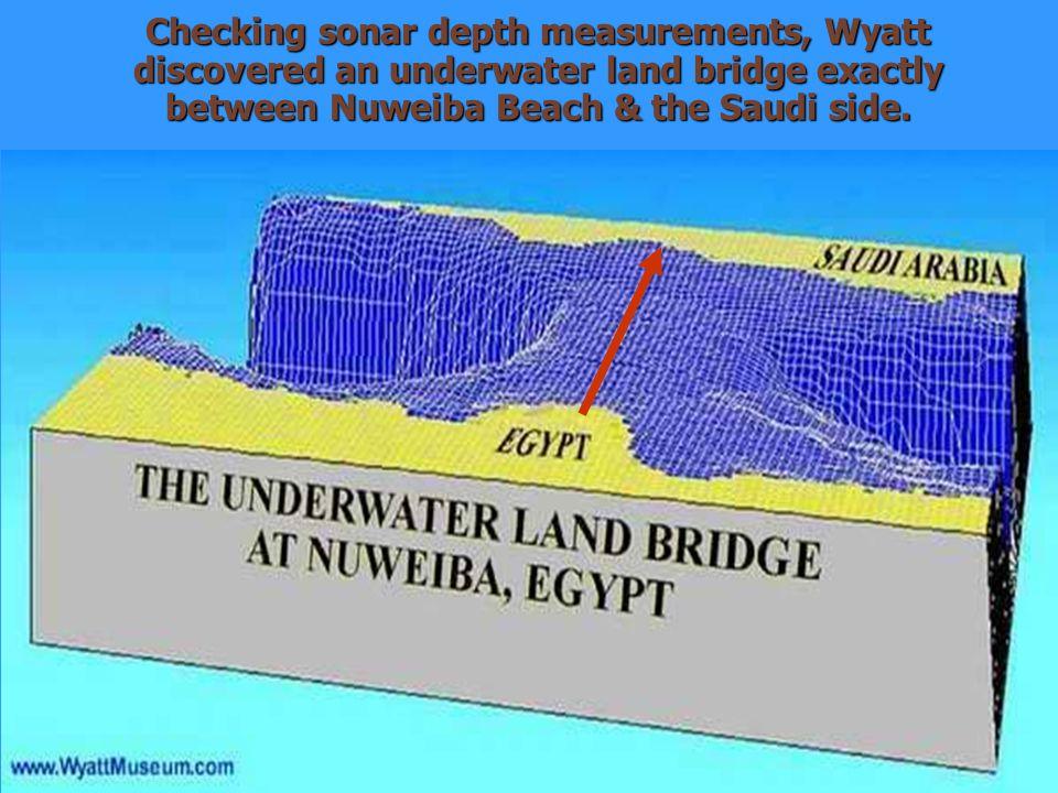Checking sonar depth measurements, Wyatt discovered an underwater land bridge exactly between Nuweiba Beach & the Saudi side.