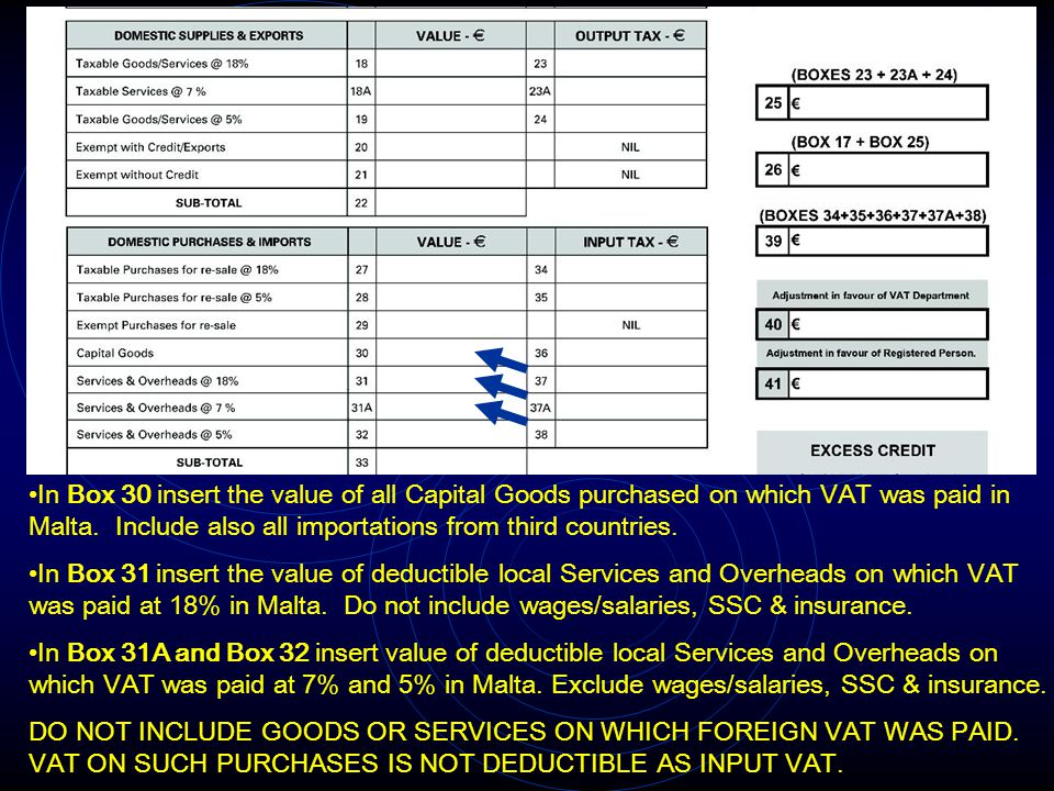In Box 30 insert the value of all Capital Goods purchased on which VAT was paid in Malta. Include also all importations from third countries.