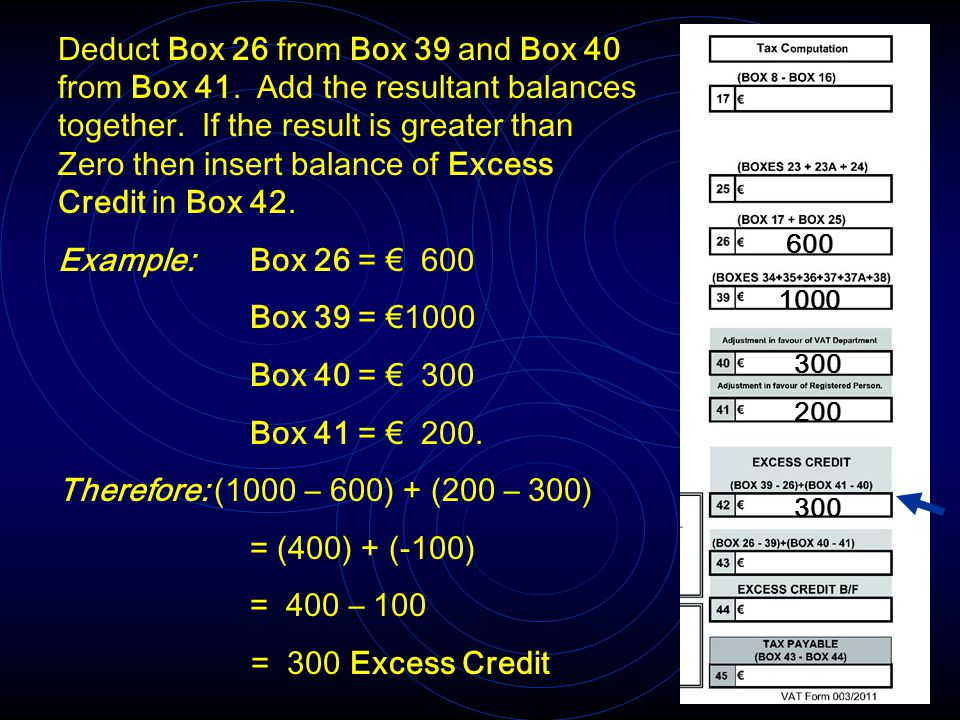 Deduct Box 26 from Box 39 and Box 40 from Box 41