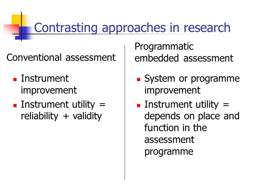 Contrasting approaches in research