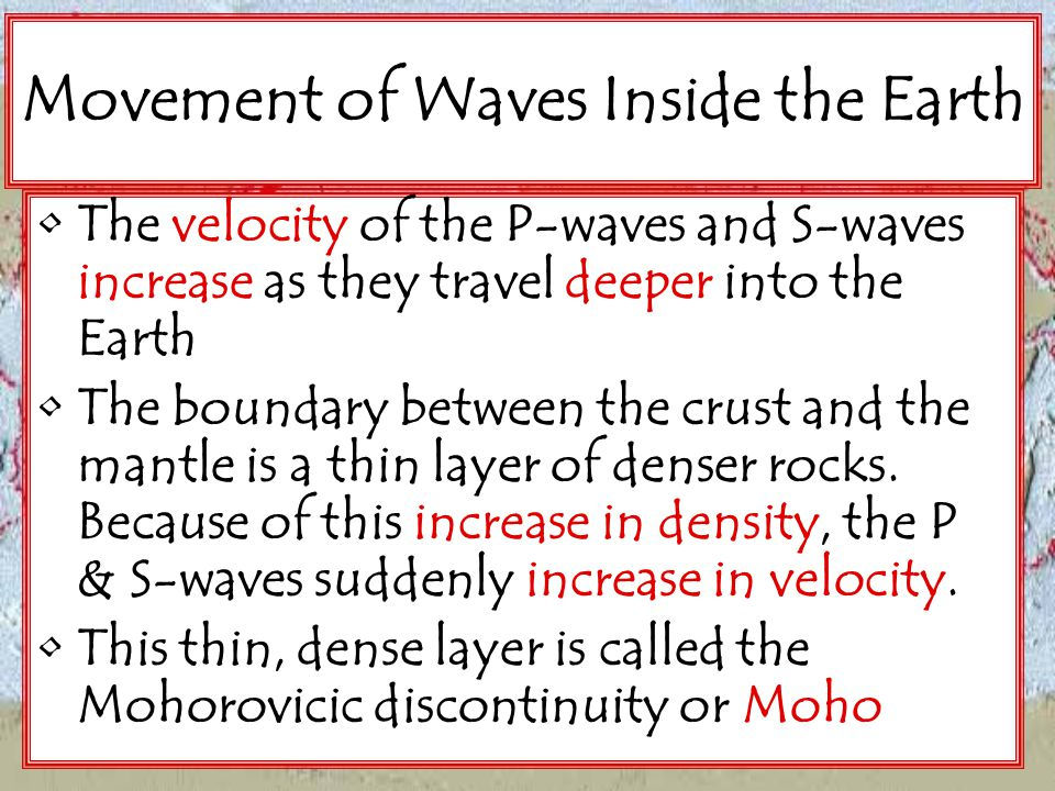 Movement of Waves Inside the Earth
