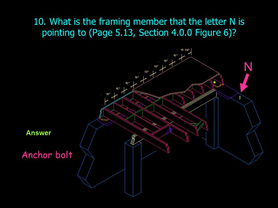 10. What is the framing member that the letter N is pointing to (Page 5.13, Section 4.0.0 Figure 6)
