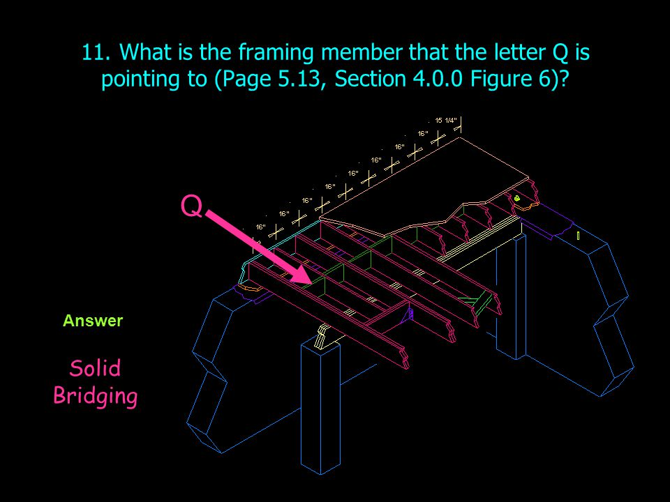 11. What is the framing member that the letter Q is pointing to (Page 5.13, Section Figure 6)