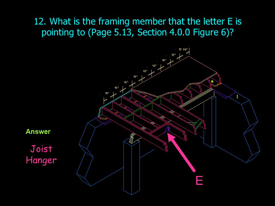 12. What is the framing member that the letter E is pointing to (Page 5.13, Section 4.0.0 Figure 6)